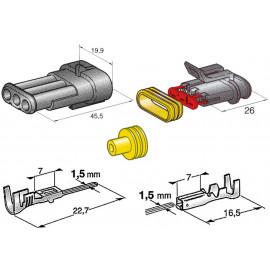 Steckersatz 3-polig IP67 10A AMP Superseal