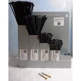 Wandhalter 500 Stk. Kabelbinder schwarz mit Metallzunge