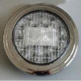 LED Schlussleuchte rund Klarglas mit Chromring 122mm, 9-33V