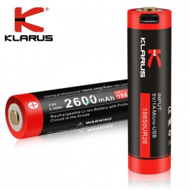 Akku 18650 mit USB Ladebuchse, 2600mAh, Klarus