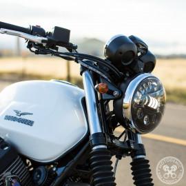 Scheinwerfertopf 7-Zoll, flach, für Motorrad in chrom oder schwarz