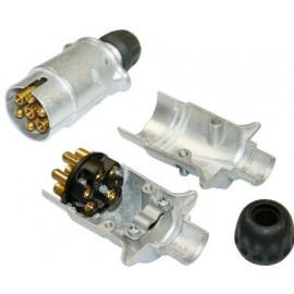 Stecker 7 pol PG DIN72577 / ISO1724, alu, mit Kabelverschraubung und Zugentlastung