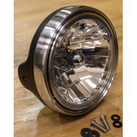 7 Zoll Lampentopf gross, mit integriertem Tragrahmen, einstellbar, Farbe: schwarz-matt mit Chromring