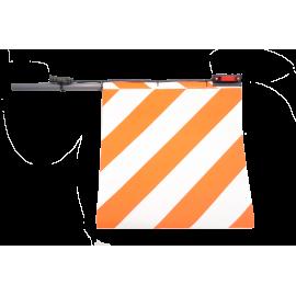 Fahne für Überbreite rot/weiss, mit LED Positionsleuchten, Version für Rechts