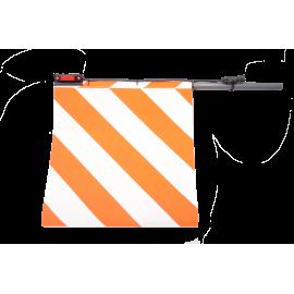 Fahne für Überbreite rot/weiss, mit LED Positionsleuchten, Version für Links