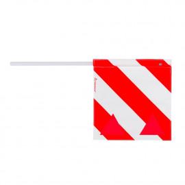 Fahne für Überbreite rot/weiss, 40x40cm, mit Reflexeinsätzen, für waagrechte Montage