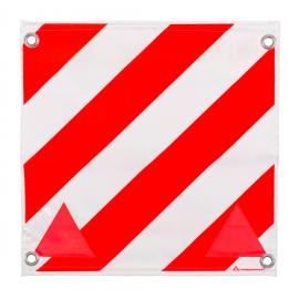 Fahne für Überbreite rot/weiss doppelseitig, 40x40cm, mit Ösen und eingenähten Rundeisen