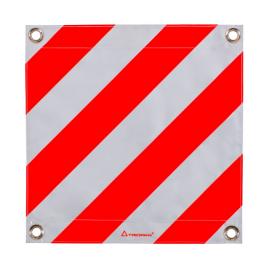 Fahne für Überbreite rot/weiss doppelseitig, 50x50cm, mit Ösen und eingenähten Rundeisen