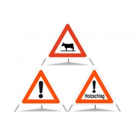 TRIOPAN Faltsignal 60 Kombi mit Etui, Andere Gefahren - Holzschlag - Achtung Tiere