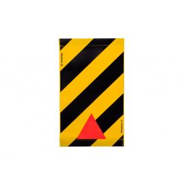 Warnsignal für Hebebühne 47x28, schwarz-gelb, mit Reflexecke