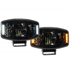 LED Fernscheinwerfer 100W oval mit weissem und orangem Positionslicht, 247x176, 12-24V