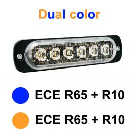 LED Frontblitzer dual color gelb/blau 12-24V, ECE R65 und R10